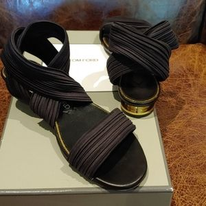 Tom Ford Black & Gold Criss-Cross Strappy Sandals